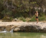 yoga - stretching and breathing on the olive terraces for a healthy start to the day